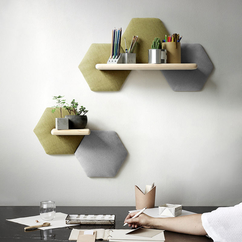 Creative wall decorations personality wall pendant living room background wall storage hexagon sofa rack