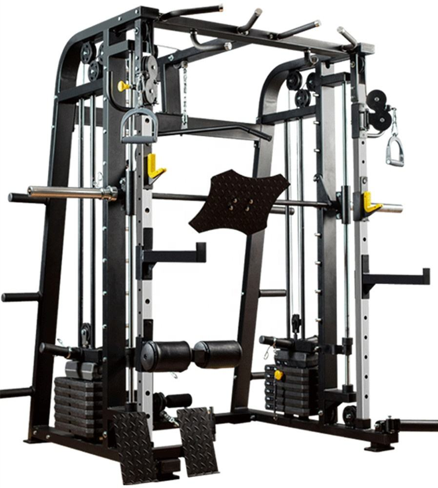 Home Body Building Multifunctional Power Cage Squat Rack With Weight Lifting Training Gym Smith Machine