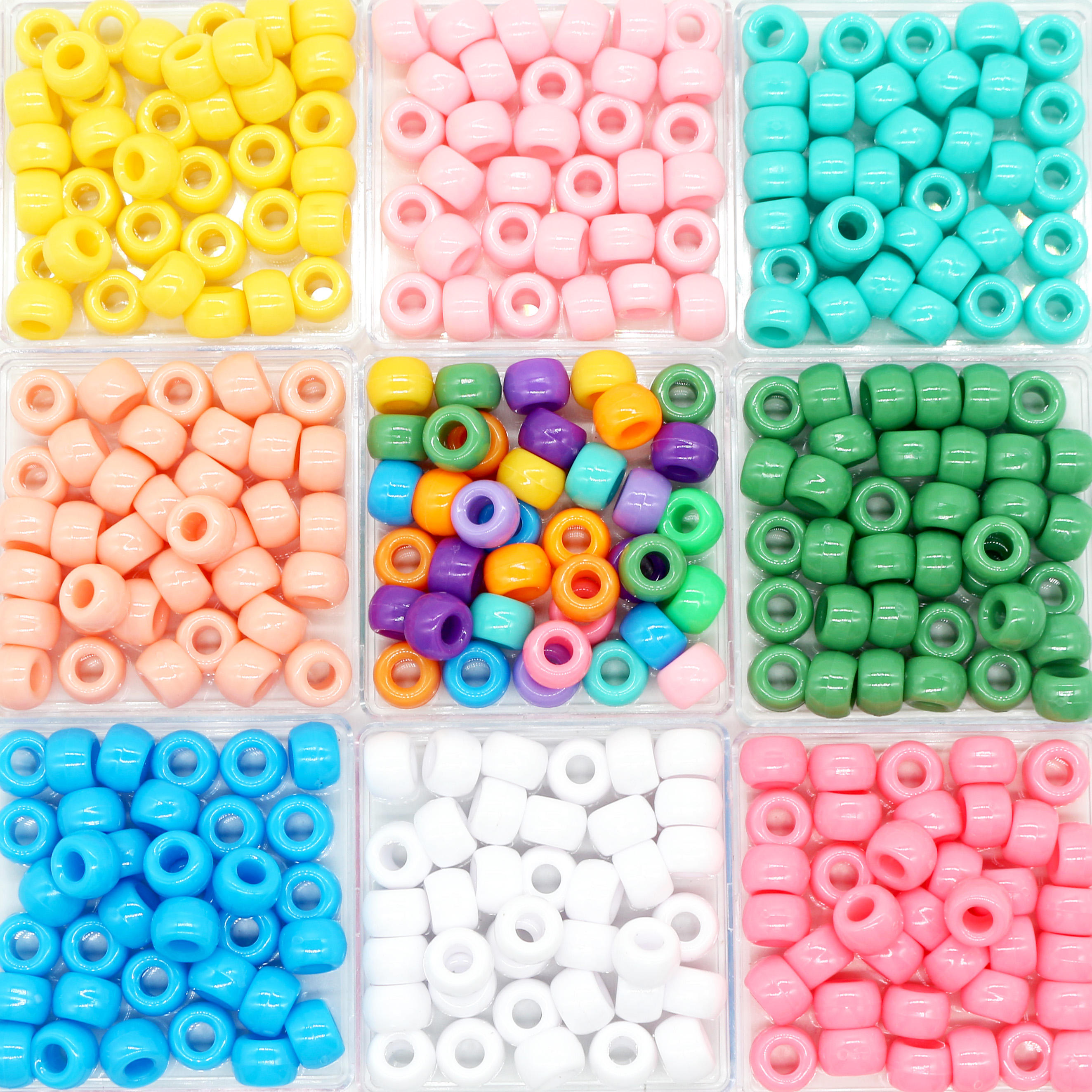 Factory Price Wholesale 6*9mm Multicolor Big Large Hole 4mm Plastic Pony Beads For Kids DIY Making