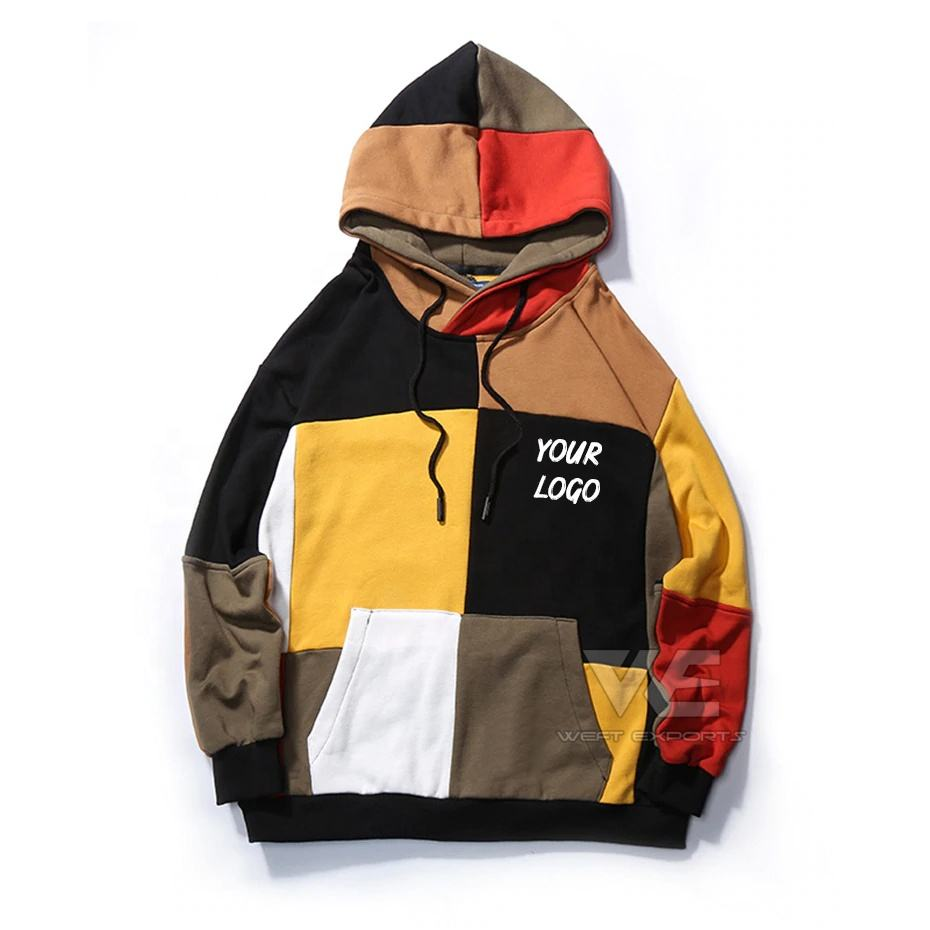 Custom Hip Hop Mens Hoodie Sweatshirt Color Block Plaid Hoodie Streetwear boy fashion hoody