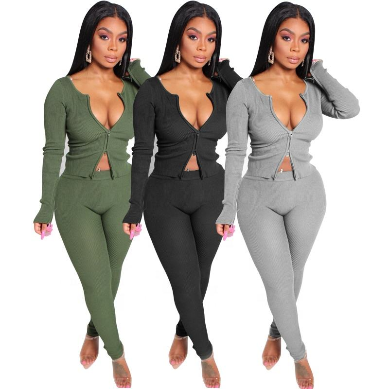 Tracksuits Women Two Piece Set Crop Top Skinny Pants Casual Matching Suits