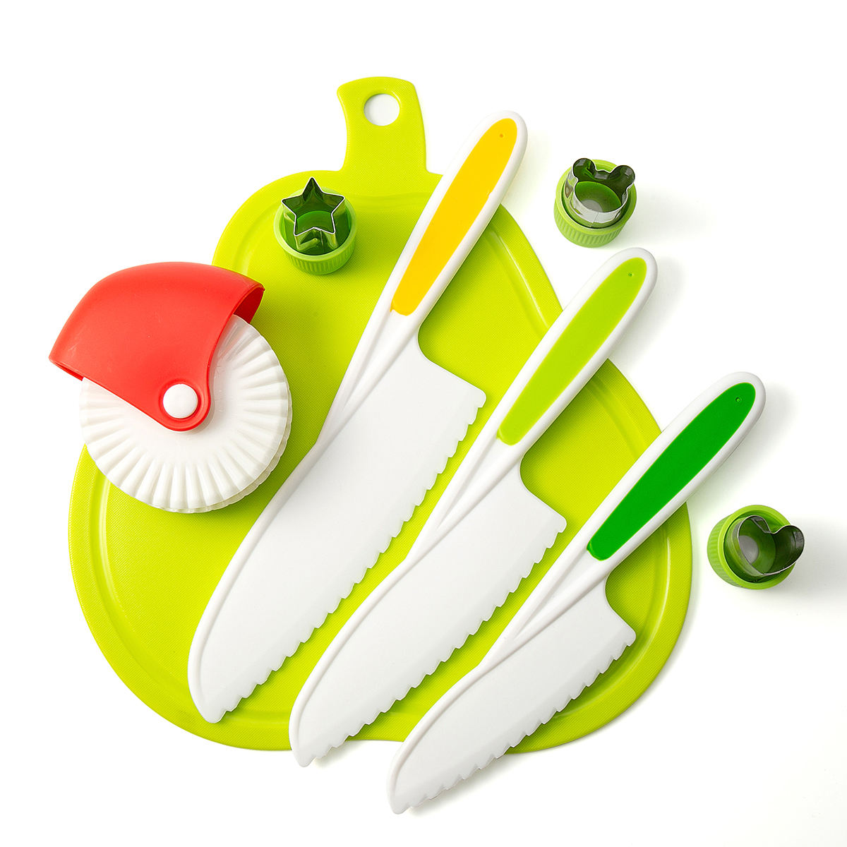 colorful pear shape Cutting Board with PP kids knife and cute cookie mold cake mold and red pastry cutting wheel