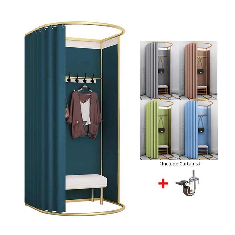 Custom High Quality Metal Movable Portable Fitting Room Mobile Dressing Room Portable Changing Room for Retail