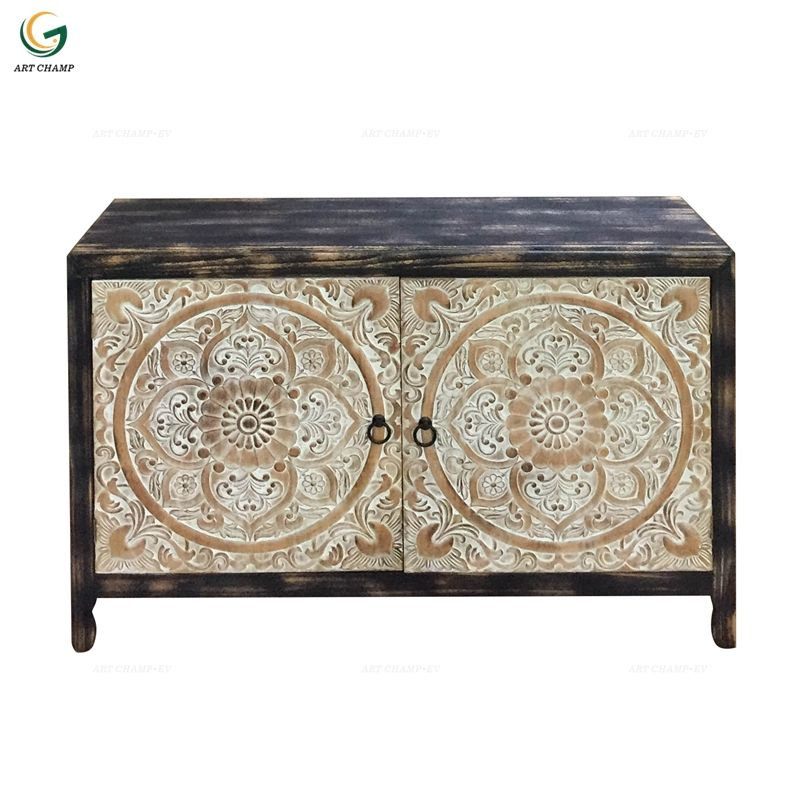 Wood Carving Cabinet Black Color Handmade Carved Living Room Wooden Furniture Cabinet