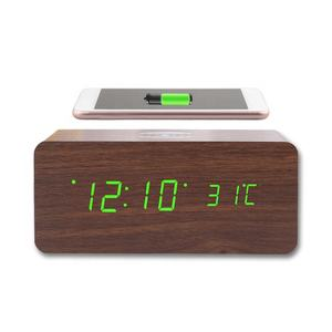 Thermometer Digital LED Mobile Phone Station Alarm Clock Wood Qi Fast Wireless Charger