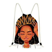 Customized Drawstring Backpack Casual Bag African Women Afro Girls Print Custom Manufacturer Wholesale/Dropship Gifts and Crafts