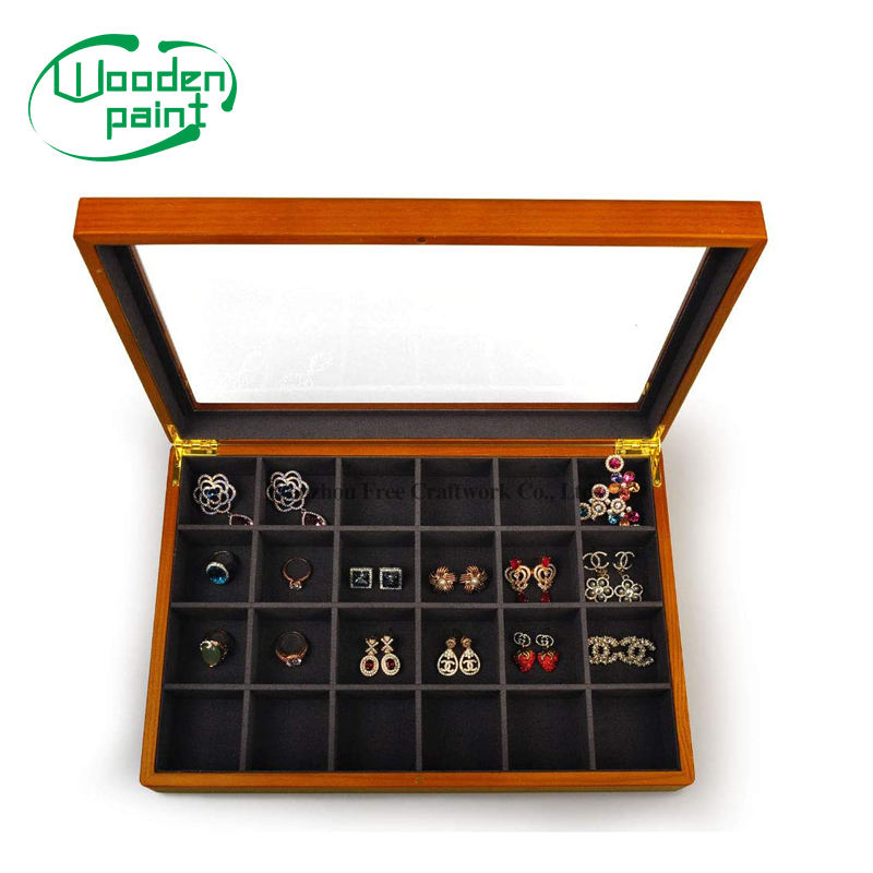 Wooden jewelry storage box gift crafts jewelry packaging box custom logo glass display box