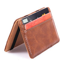 Online shopping China stocks card holder high quality PU magic wallet for man with coin pocket