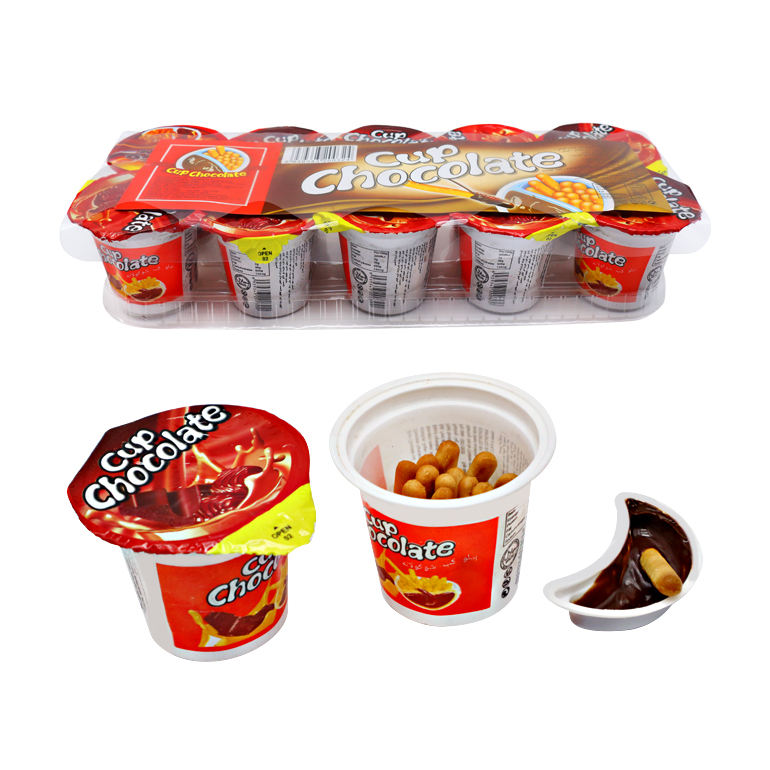 Hot sale chocolate paste with biscuit sticks cup chocolate