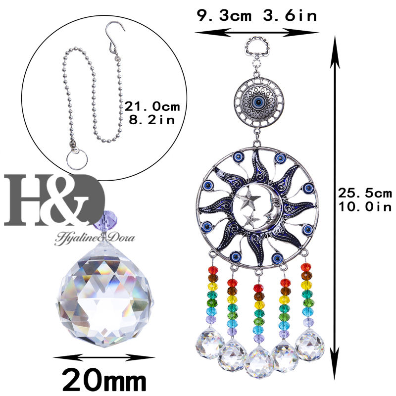 H&D Lucky Turkish Blue Evil Eye Suncatcher Rainbow Maker Drop Ball Window Wall Moon&Star Decor Hanging Ornament Home Decoration