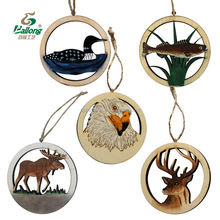 Ready to ship custom design plywood craft laser cut wood pendant gift souvenir Christmas ornaments for home decoration