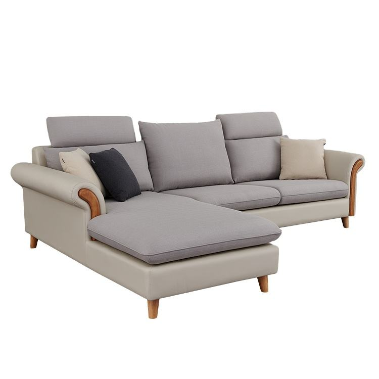 Italian Modern Designs Living Room Lounge L Shape Fabric Recliner Sectional Sofa with solid Wood Leg