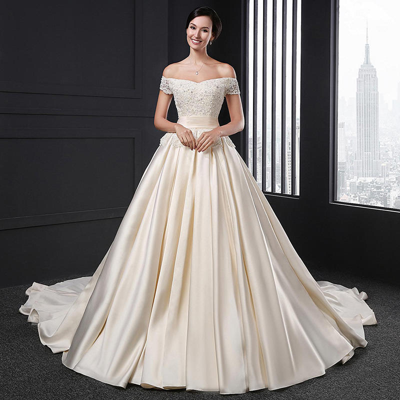SL027 wedding dress 2020 satin off shoulder lace apliques beaded simples champagne vintage gowns elegante long muslim a line