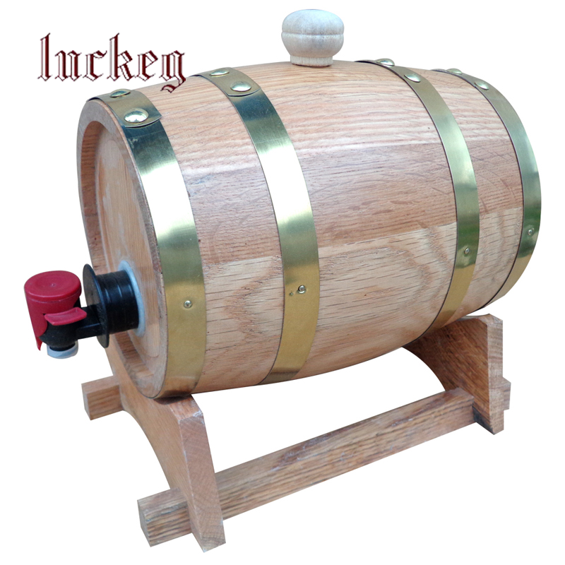 5L big capacity traditional wooden beer Keg, wooden wine Barrel for Kitchen, Bar, Home party