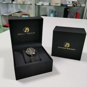 OEM Custom Logo Modern Luxury Single black PU leather Wrist Watch Box Packaging watches boxes with insert