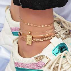 4 Pcs Ankle Bracelets for Women Girls Gold Silver Chain Beac