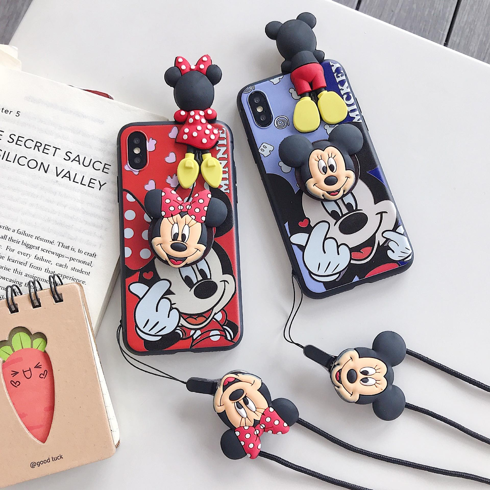 For iPhone 11 Pro Max 11 Pro Xs X 7 8 Minnie Mickey 3D Doll Holder Stand Strap Cute Soft Case