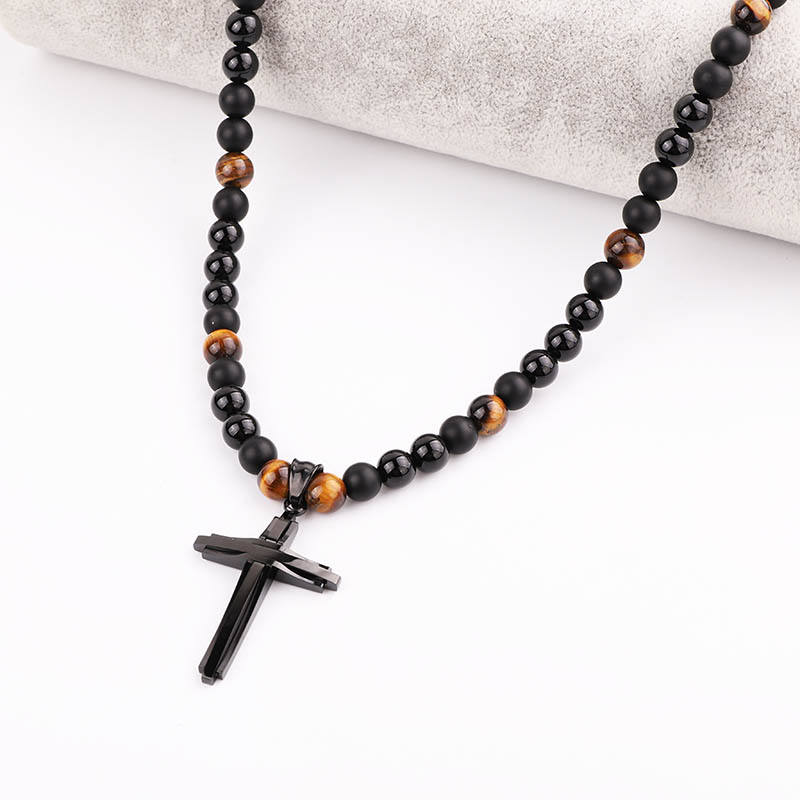 New Design Matte Onyx Tiger Eye Stone Rosary Beads Stainless Steel Cross Macrame Ajustable Beaded Long Jesus Necklace Men
