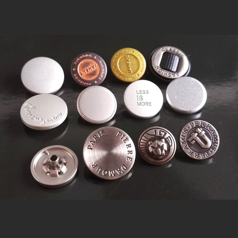 High quality 3D white engraved laser prints embossed logo metal Thick chunky antique silver snap button
