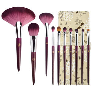Professional Makeup Artist Choose Wood Handle Glitter Cosmetic Brushes Portable Makep Bruch Set