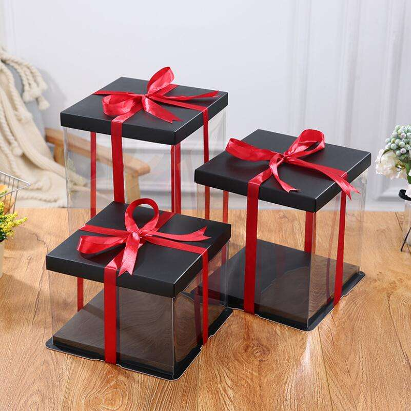 Top quality Black white new design foldable cake box 10 inch with strong base clear plastic border bakery boxes for party gift