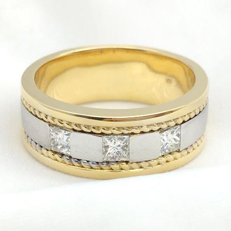 Solid 14K Real Gold Men Ring 2 tone Female Band Ring 0.6 Carat Princess Cut GIA Diamond Men ring