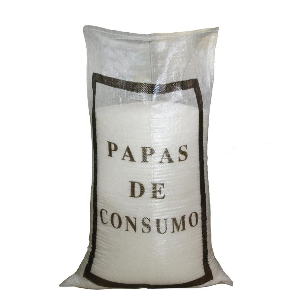 hot seal 25kg 50kg laminated polypropylen/pp woven raffia transparent packaging potato rice salt bag /sack with printing