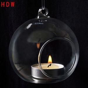 Romantic Wedding Dinner Decor Crystal Glass Hanging Candle Holder wholesale Hanging glass candlestick