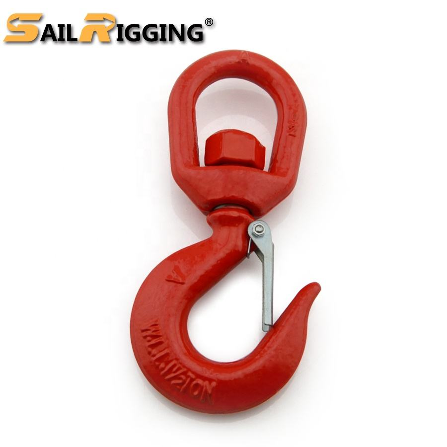 Rigging US Type Steel Drop Forged S322 Heavy Chain Hoist Lifting Crane Swivel Hook with Safety Latch