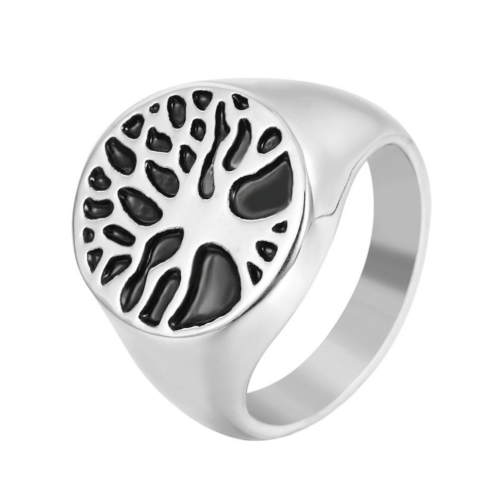 cool fashion Men Signet Ring Vintage Jewelry Stainless Steel Tree Of Life Ring