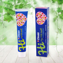 Price of all OEM fruit flavor 50g green gel squeeze mini baby children kids toothpaste with BRC