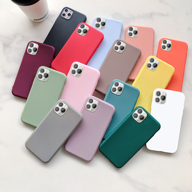 Tschick Soft Frosted TPU Case For iphone 12 Pro 11 Pro 7 8 Plus XS Max XR Cover Case Soft Silicon Phone Shell Solid Candy Color