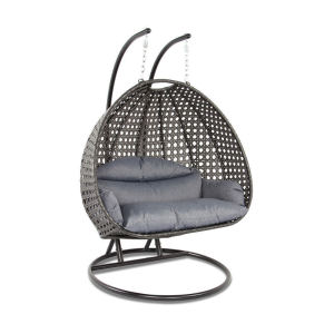 CR1708-2 double seats metal egg hanging wicker rattan swing chair patio