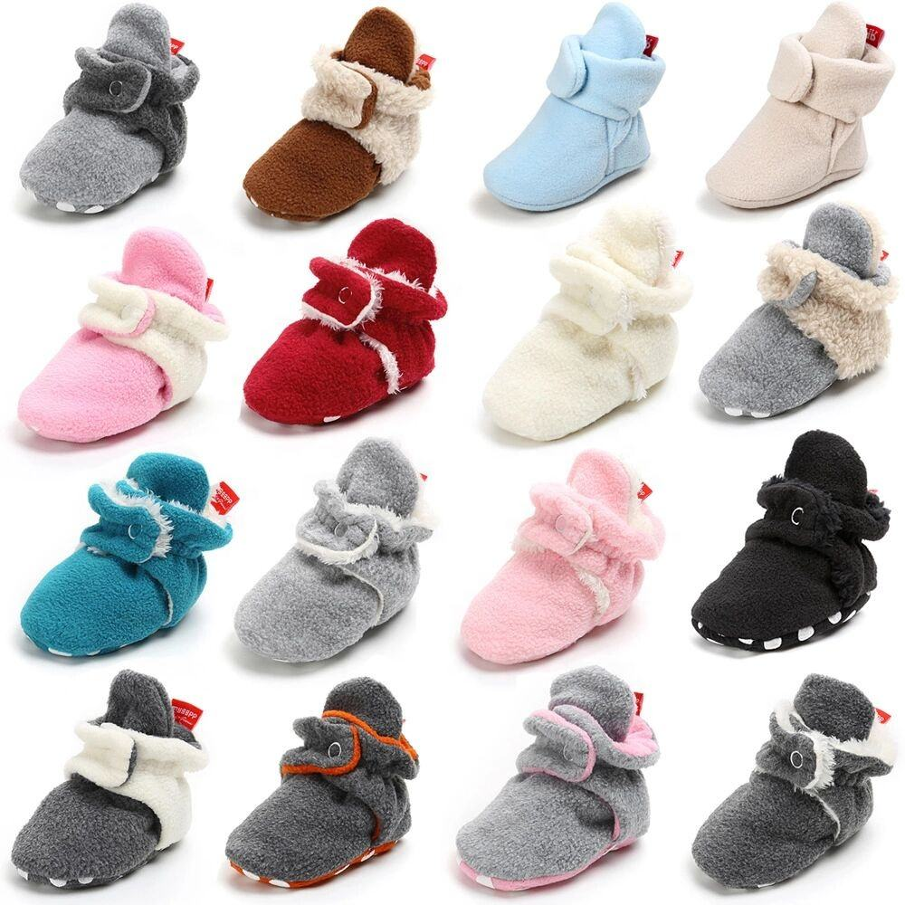 Old Fashioned Winter Drawstring Infant Bedroom Shoes Baby Booties With Snaps