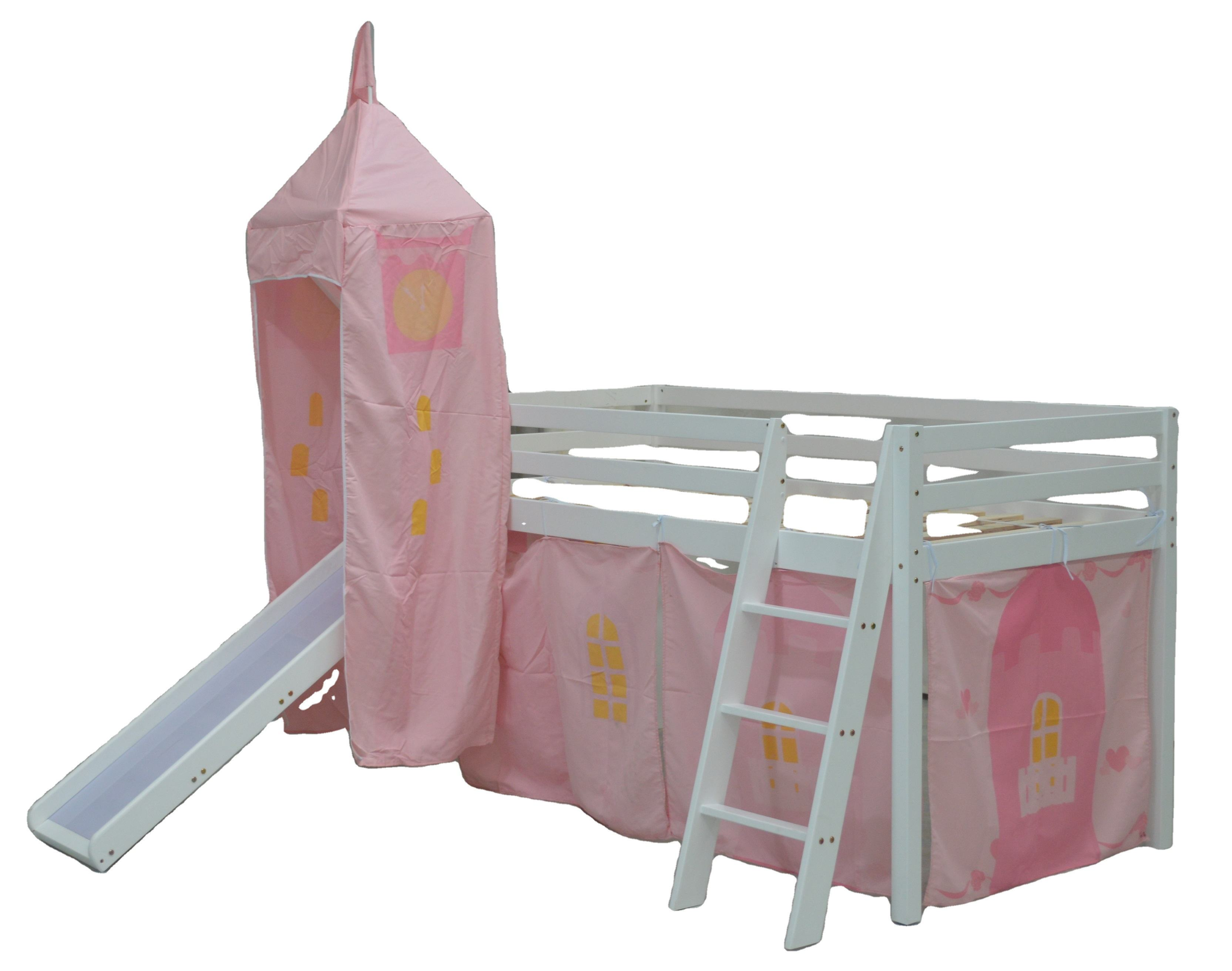 No.1431 solid wood children beds kids bunk bed Mid sleeper Bed with castle and Slide with tent