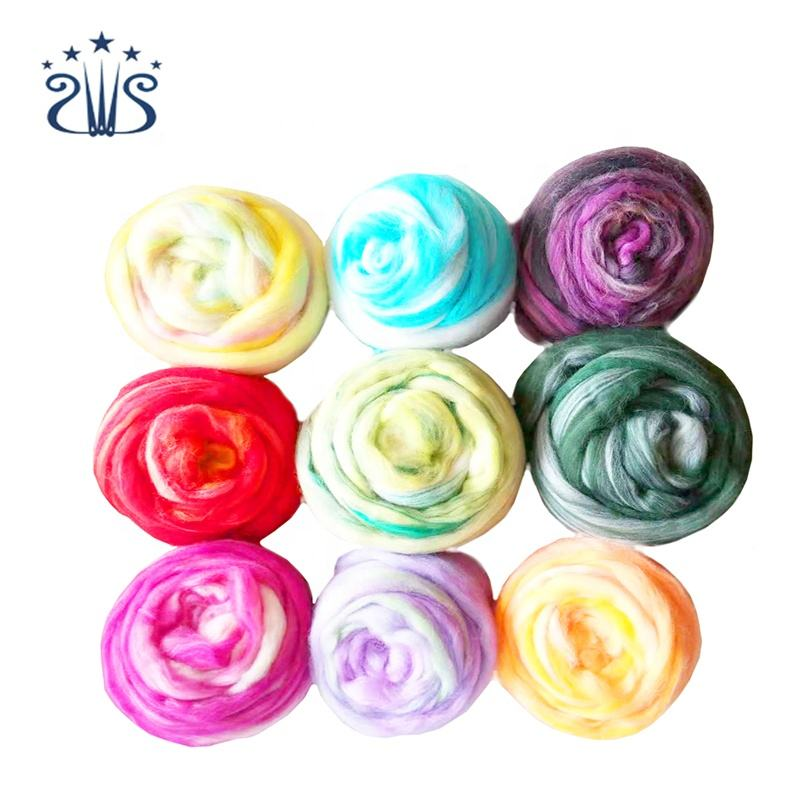 50g/Bag Mixed Color Felting Wool Fiber Needle Felting Natural Collection For Animal Projects Felting Wool for DIY Craft