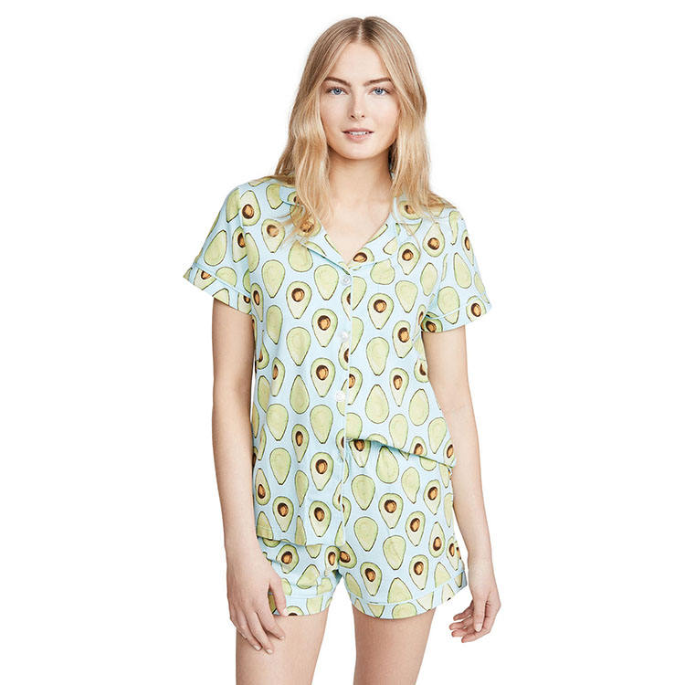 Huiyue Short sleeves Avocado print with tonal piping sleep sets Collared neck with notched lapels sleepwear women korean style