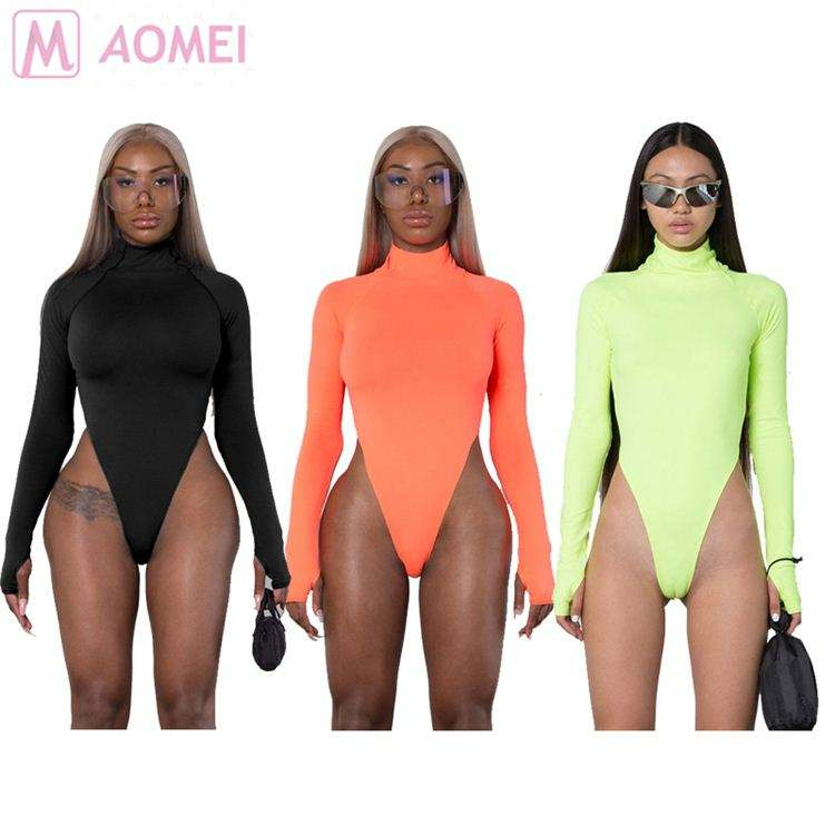 B6019 hot onsale turtleneck solid color long sleeve skinny Clothing bodysuit Woman
