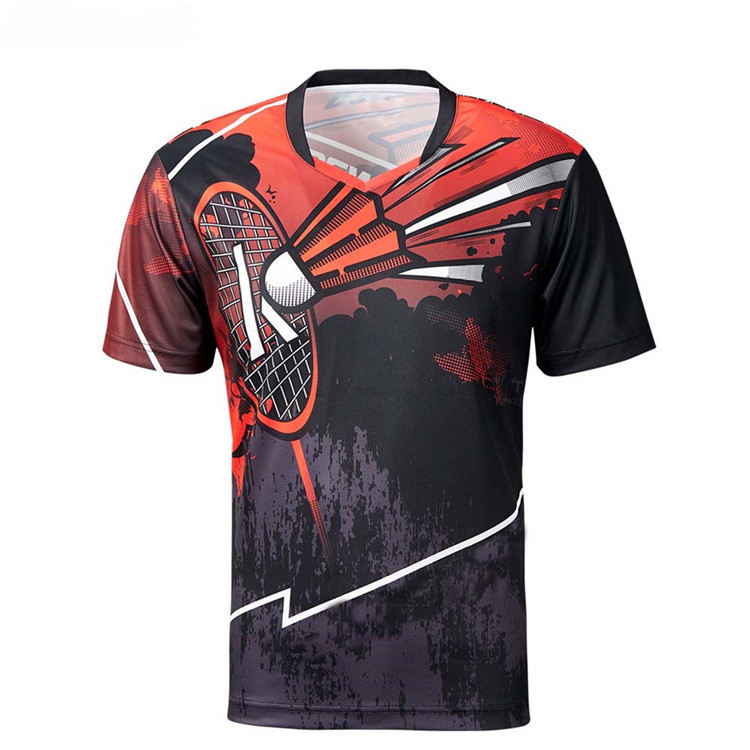 Customized Sportswear 100 Polyester Quick Dry Sports T Shirt Full Sublimation Printing Badminton Jersey