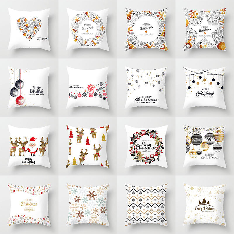 Peach pillowcase cartoon printed sofa pillowcase Christmas cushion cover