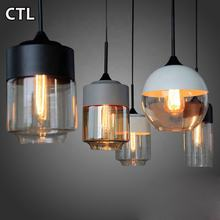 Kitchen island black iron decorative E27 hanging lamp clear shade hotel restaurant hand blown nordic modern glass pendant lights