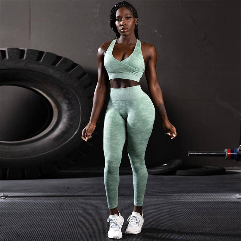 Hot Sale Gym Fitness Clothing Cross Back Sport Bra Long Pants Breathable Gym Yoga Sets Camouflage Womens Yoga Sets