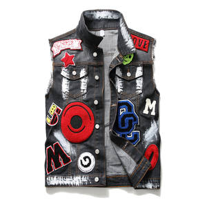 Cool cotton jackets denim jeans vest for men