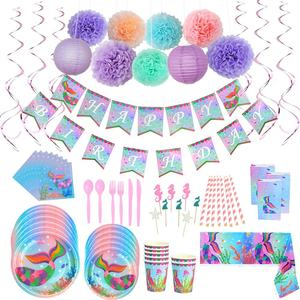 UMISS 97PCS Amazon Hot Sale Under the Sea Birthday Party Supplies Pack Mermaid Decorations, For Girl Baby Shower Decoration