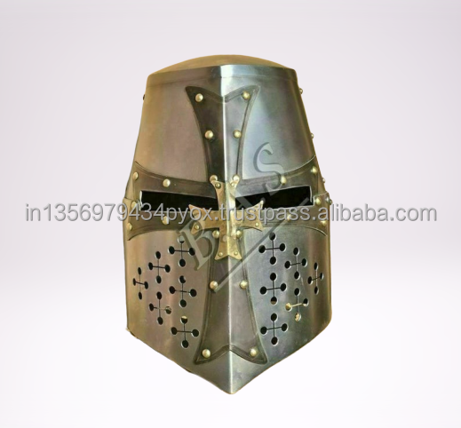 New crusader knight templar sugar loaf armour's helmet-medievalウェアラブルヘルメットコスチューム