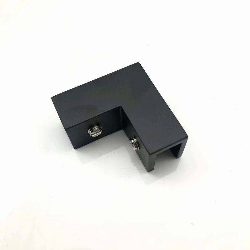 Matt Black 90 Degree Glass to Glass Corner Brass Railing Mount Clamps Glass Clip