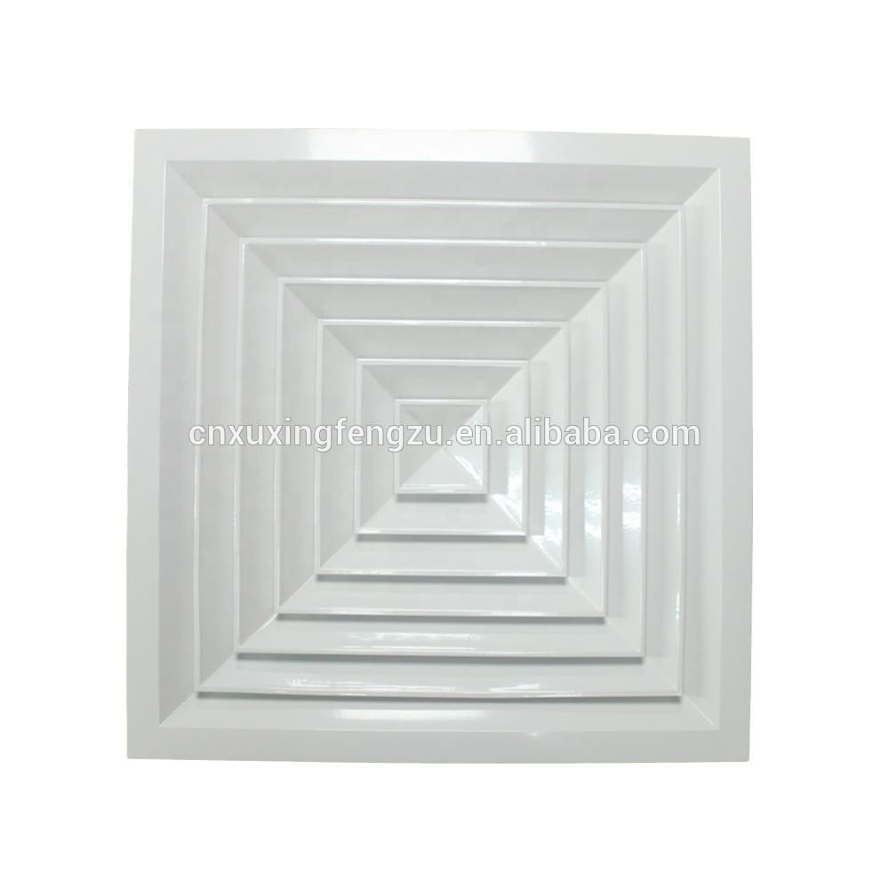 hvac system supply 4 way aluminum square air diffuser ac ceiling vents