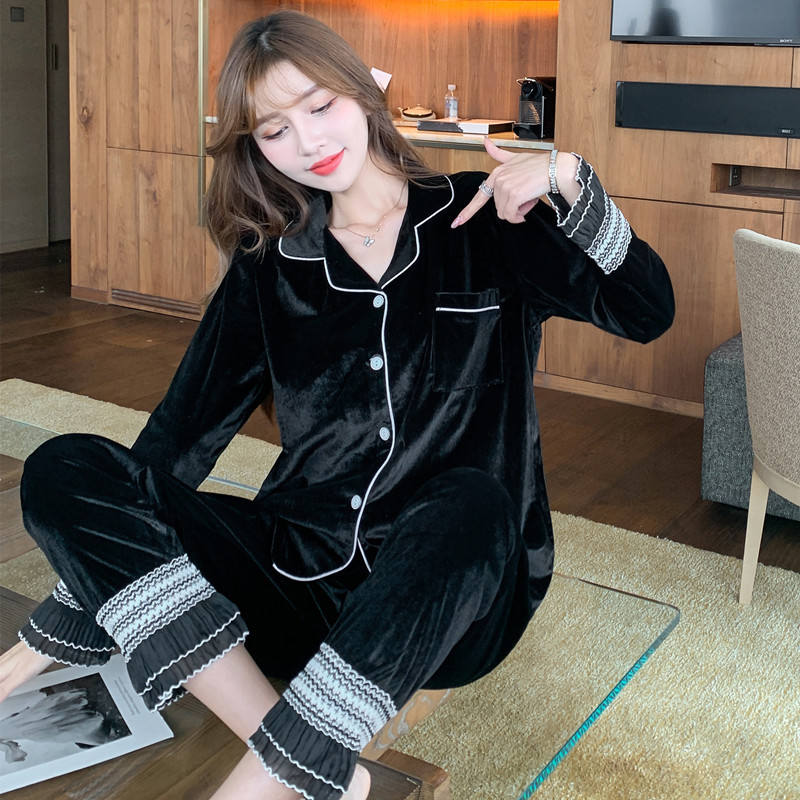blouse style warm pleuche sleepwear 2 piece long sleeve pajama set women's pajamas cardigan for home wear