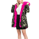 thicken pink fur collar hooded camo women long length parkas women coats winter wear faux fur coat