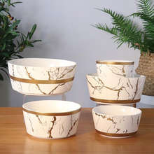 Multiple sizes gold line luxury marble porcelain salad rice soup bowl for restaurant